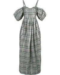 Rosie Assoulin チェック オフショルダー ドレス - グレー