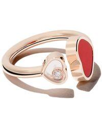 Chopard 18 Kt Rose Gouden Happy Hearts Diamanten Ring - Meerkleurig