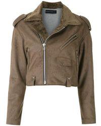 Gloria Coelho Cropped Biker Jacket - Brown