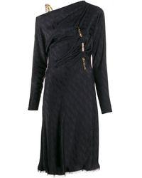 Versace ドレープ サテンドレス - ブラック