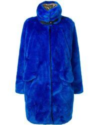 Rossignol Faux-fur Midi Coat - Blue