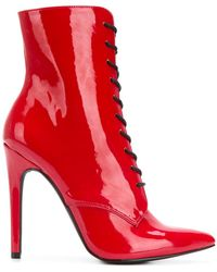 Danielle Guizio Pointed Toe Lace-up Boots - Red