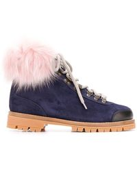 Mr & Mrs Italy Fur-trimmed Hiking Boots - Blue