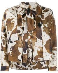 Golden Goose Deluxe Brand Horse Print Pleated Blouse - Multicolour