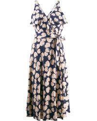 Diane von Furstenberg Vestido tipo kimono con motivo de hojas - Azul