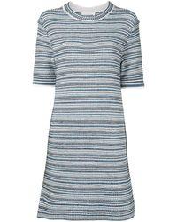 Chloé Платье В Полоску С Короткими Рукавами - Синий