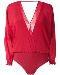 Brigitte Bardot Body à col v - Rouge