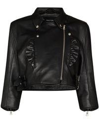 Simone Rocha Ruffle-detail Cropped Leather Jacket - Black