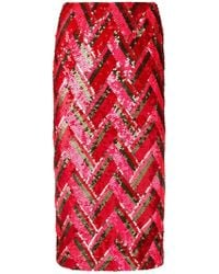 P.A.R.O.S.H. - Zig-zag Sequined Skirt - Lyst