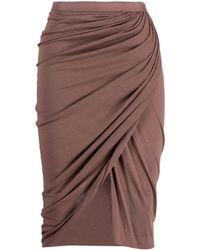 Rick Owens Lilies Gathered-detail Skirt - Brown