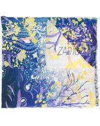 Zadig & Voltaire フローラル スカーフ - ブルー