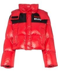 Miu Miu - Cropped Hooded Puffer Jacket - Lyst