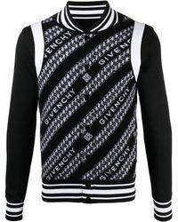 Givenchy Бомбер Вязки Интарсия С Логотипом - Черный