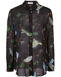 Altuzarra Chika Bird Print Shirt - Black