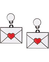 Yazbukey Heart Envelope Earrings - White