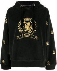 Tommy Hilfiger Худи С Вышитым Логотипом - Черный