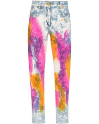 Versace Tie-dyed High-rise Straight-leg Jeans - Blue