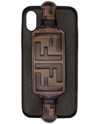 Fendi Ff-logo Iphone X Case - Black