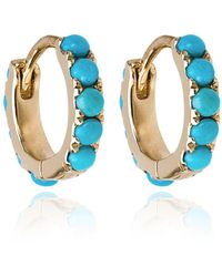 Rosa De La Cruz Turquoise Mini Hoop Earrings - Metallic