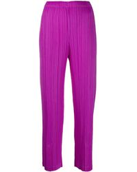 Pleats Please Issey Miyake Cropped Pleated Trousers - Purple