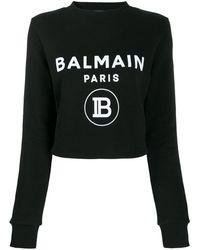 Balmain Pull à logo contrastant - Noir