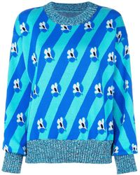 MM6 by Maison Martin Margiela Sweater Met Bloemenstreep - Blauw