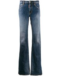 DSquared² Distressed Faded Flared Jeans - Blue
