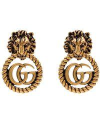 Gucci Серьги Lion Head С Логотипом GG - Многоцветный