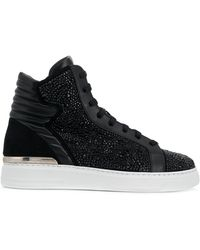 89e99aa3581 Rhinestone Embellished Hi-top Trainers - Black