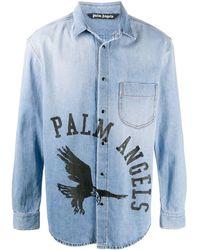 Palm Angels ロゴ デニムシャツ - ブルー