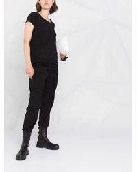 Rundholz T-shirt à bords frangés - Noir