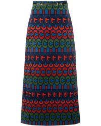 Gucci ロゴプリント スカート - ブルー