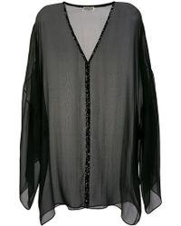 Saint Laurent Расклешенное Платье С Длинными Рукавами - Черный