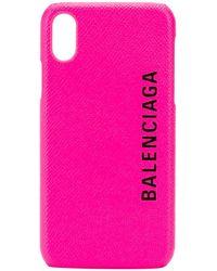 Balenciaga Чехол Для Iphone X С Логотипом - Розовый