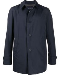 Herno Point-collar Button-through Coat - Blue