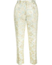 Dolce & Gabbana Jacquard Cropped Trousers - Blue