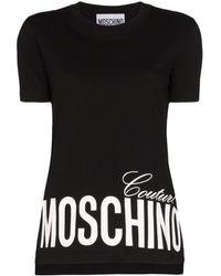 Moschino Asymmetrisch T-shirt - Zwart