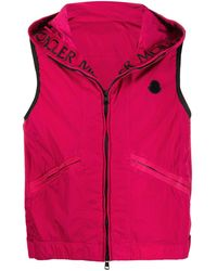 Moncler Hooded Zip-up Gilet - Pink
