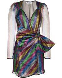 The Attico Mini-jurk Met Strikdetail - Blauw