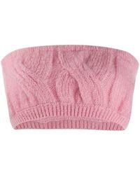 Greta Boldini Cable Knit Bandeau Top - Pink