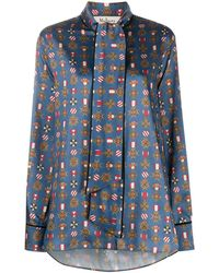 Mulberry Ottilie Medallion-print Blouse - Blue