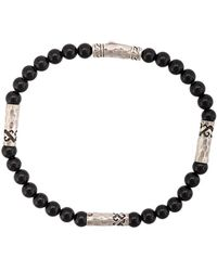 John Hardy Silver Classic Chain Onyx Round Bead Four-station Bracelet - Black