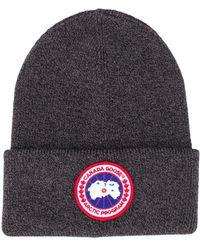 Canada Goose ロゴパッチ ビーニー - グレー