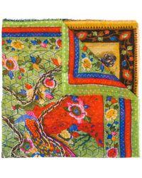 Faliero Sarti Multi-print Embroidered Scarf - Blue