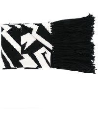 Stella McCartney バイカラー パターン スカーフ - ブラック