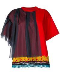 Kolor チュールパネル Tシャツ - レッド