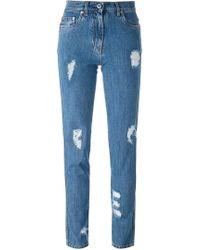 Moschino - Distressed Jeans - Lyst