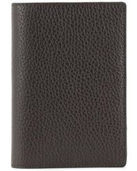 Canali Textured Leather Bifold Cardholder - Brown