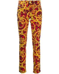 Versace Jeans Couture Jeans skinny con stampa - Rosso
