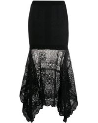 Alexander McQueen Patchwork Lace Knitted Skirt - Black